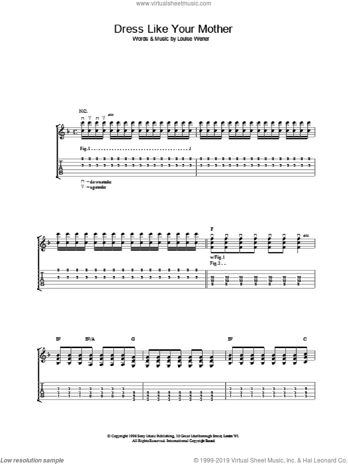 Dress Like Your Mother sheet music for guitar (tablature) by Sleeper, intermediate skill level