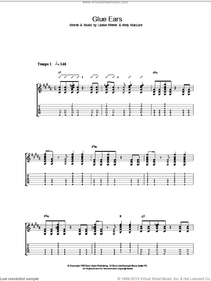 Glue Ears sheet music for guitar (tablature) by Sleeper