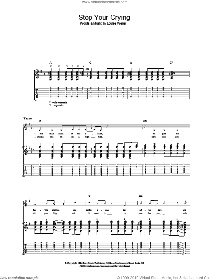 Stop Your Crying sheet music for guitar (tablature) by Sleeper. Score Image Preview.
