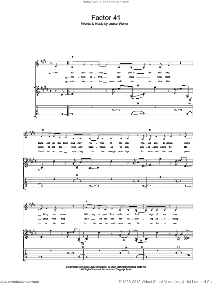 Factor 41 sheet music for guitar (tablature) by Sleeper. Score Image Preview.