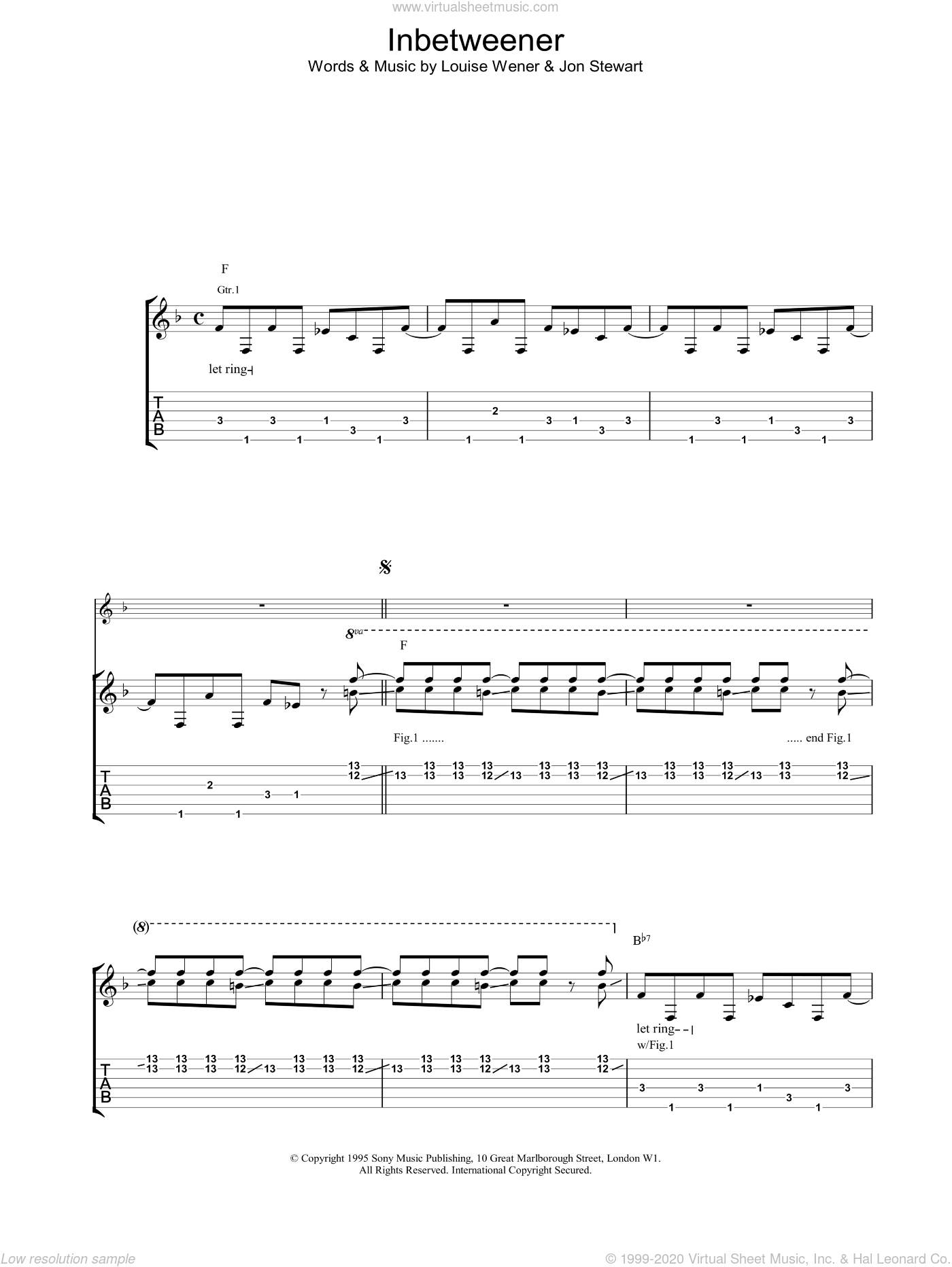 Inbetweener sheet music for guitar (tablature) by Sleeper