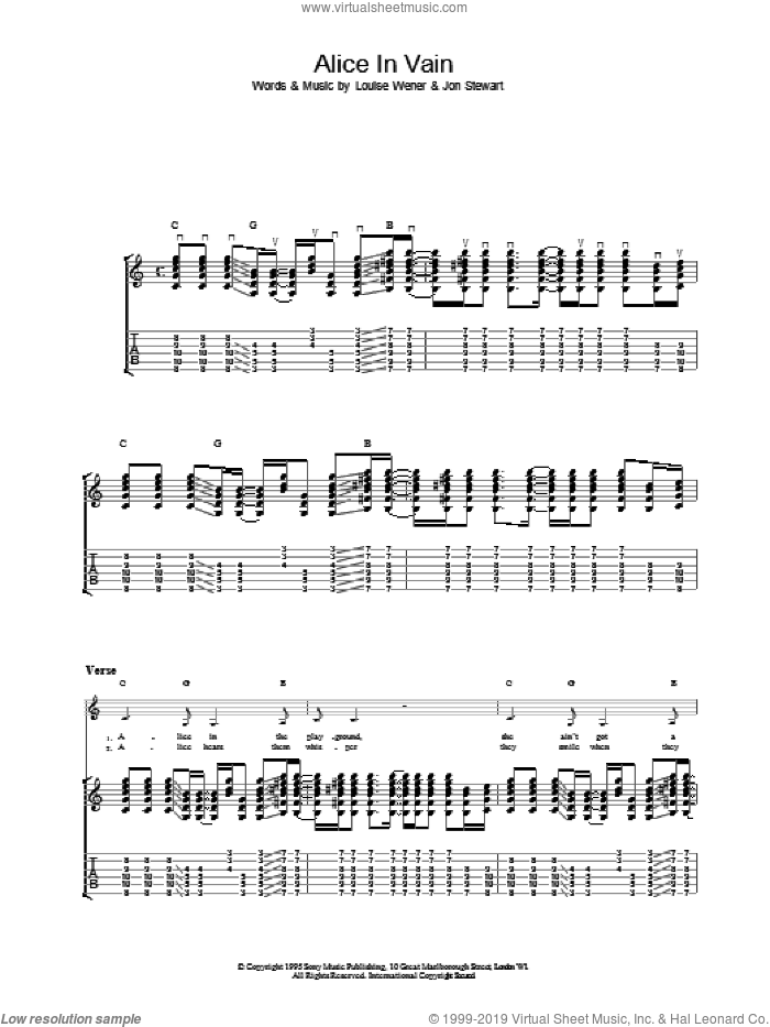 Alice In Vain sheet music for guitar (tablature) by Sleeper, intermediate skill level