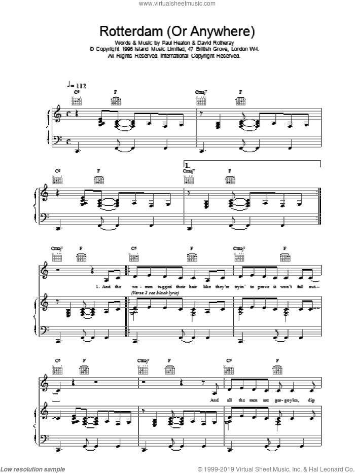 Rotterdam (Or Anywhere) sheet music for voice, piano or guitar by The Beautiful South. Score Image Preview.