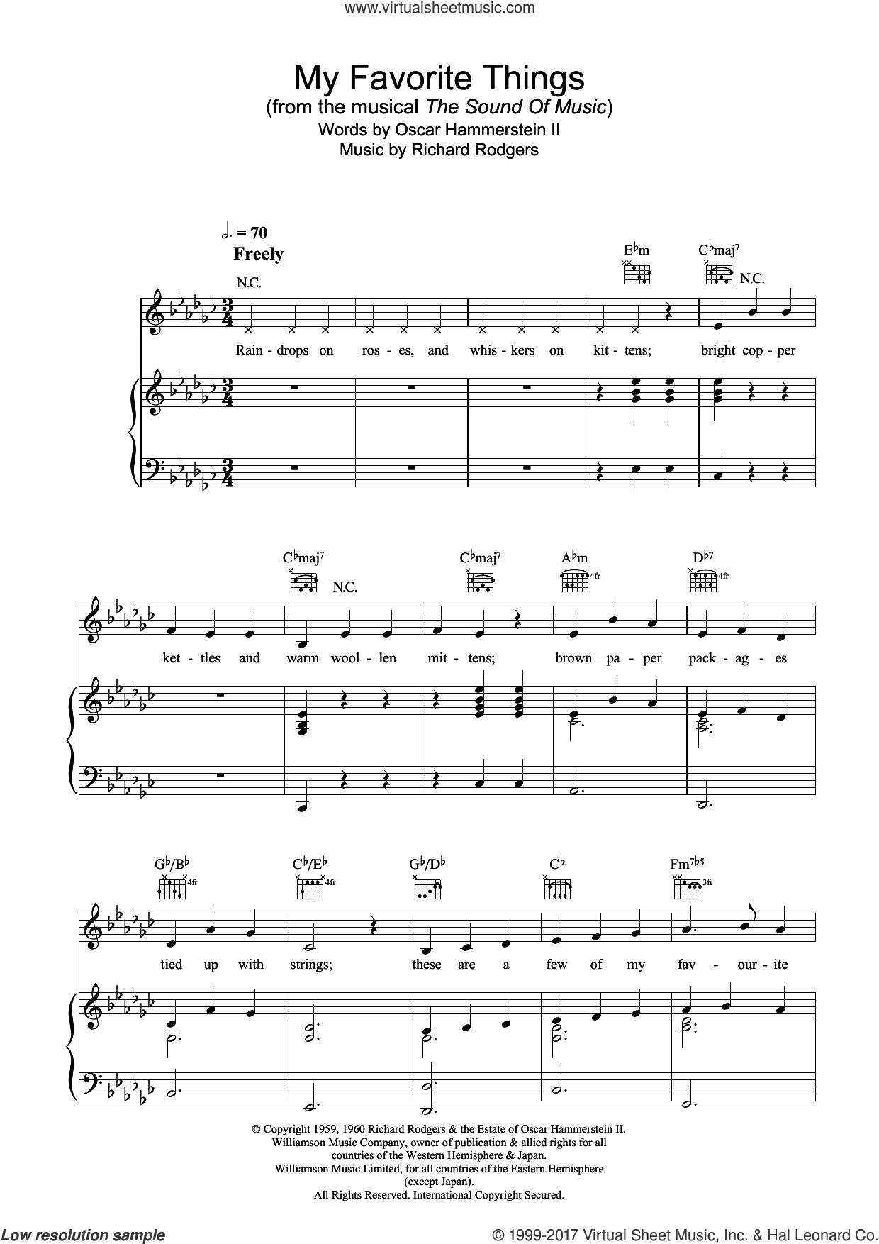 My Favorite Things sheet music for voice, piano or guitar by Richard Rodgers