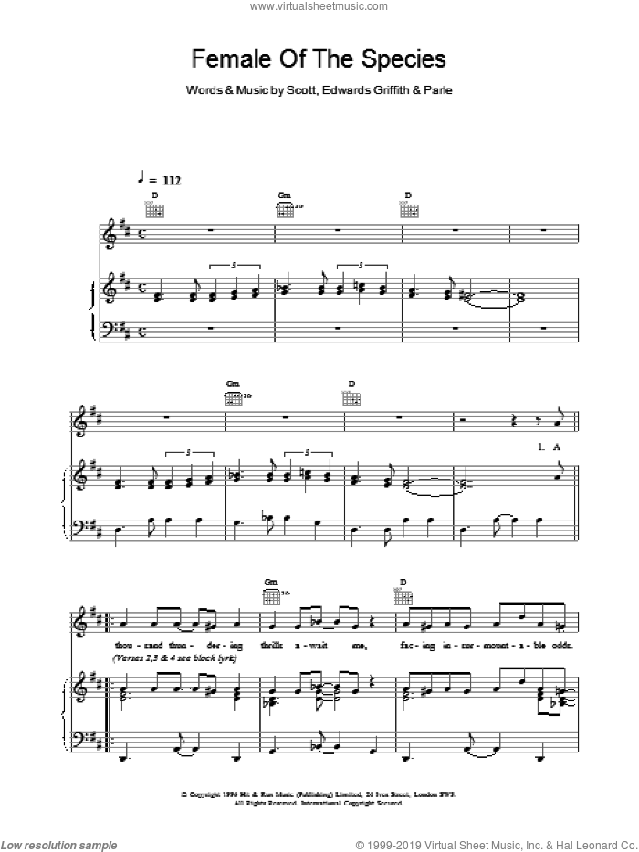 Female Of The Species sheet music for voice, piano or guitar