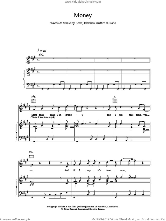 Money sheet music for voice, piano or guitar, intermediate. Score Image Preview.
