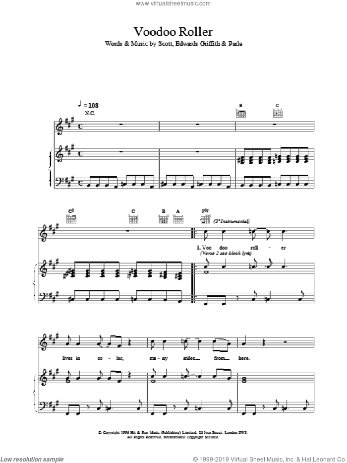 Voodoo Roller sheet music for voice, piano or guitar, intermediate skill level