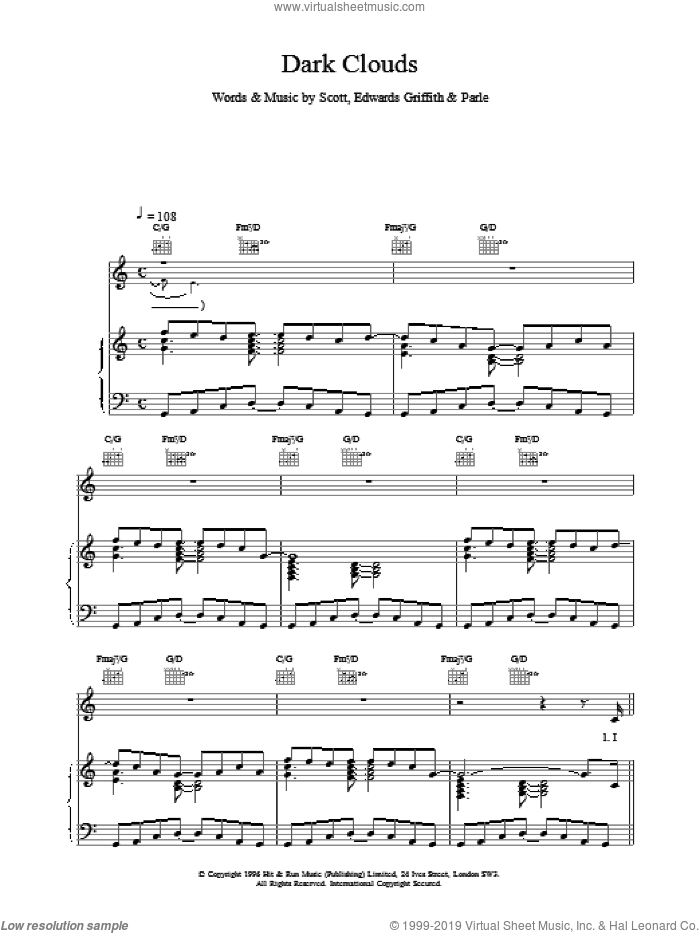 Dark Clouds sheet music for voice, piano or guitar. Score Image Preview.