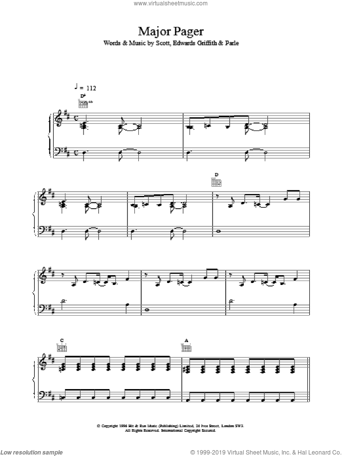 Major Pager sheet music for voice, piano or guitar. Score Image Preview.