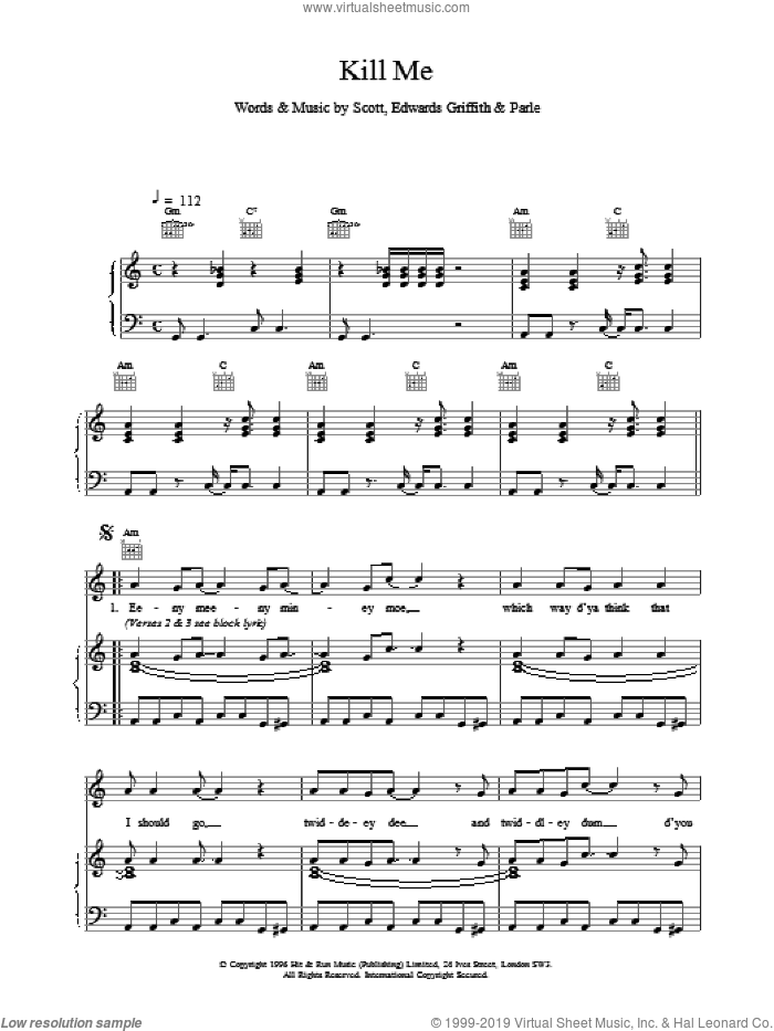 Kill Me sheet music for voice, piano or guitar. Score Image Preview.
