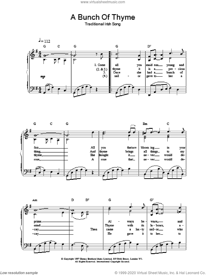 A Bunch Of Thyme sheet music for voice, piano or guitar. Score Image Preview.