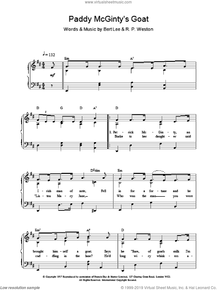 Paddy McGintys Goat sheet music for voice, piano or guitar by Bert Lee and R.P Weston, intermediate. Score Image Preview.
