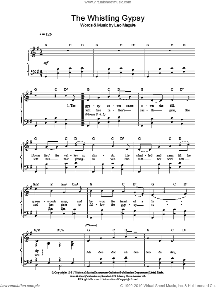 Whistling Gypsy sheet music for voice, piano or guitar by Leo Maguire. Score Image Preview.