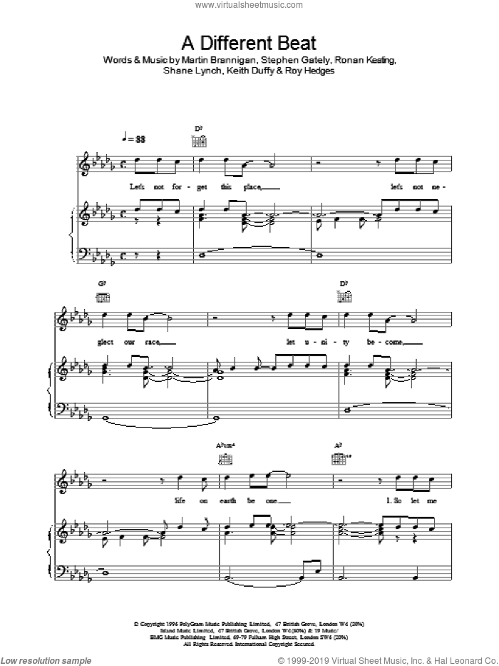 A Different Beat sheet music for voice, piano or guitar by Boyzone