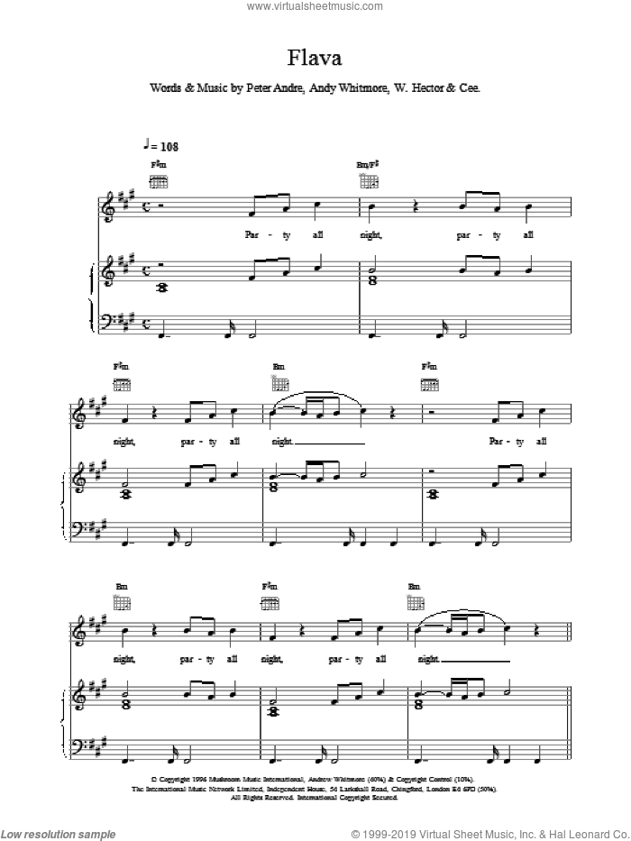 Flava sheet music for voice, piano or guitar by Peter Andre