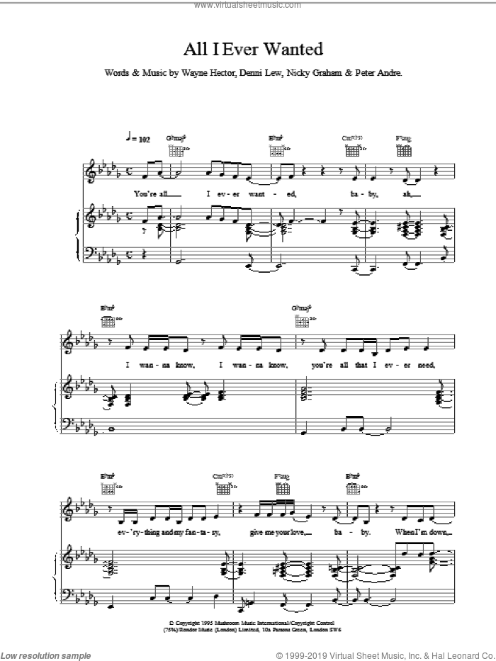 All I Ever Wanted sheet music for voice, piano or guitar by Peter Andre, intermediate voice, piano or guitar. Score Image Preview.