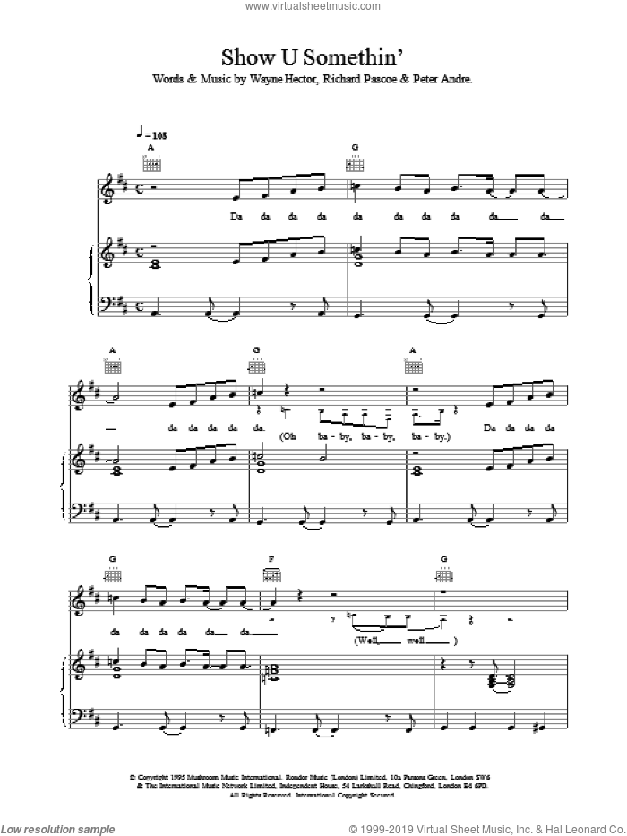 Show U Somethin sheet music for voice, piano or guitar by Peter Andre, intermediate. Score Image Preview.