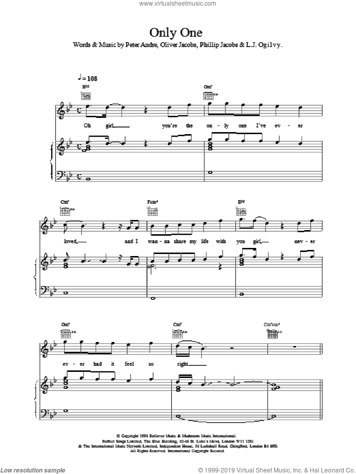 Only One sheet music for voice, piano or guitar by Peter Andre, intermediate skill level