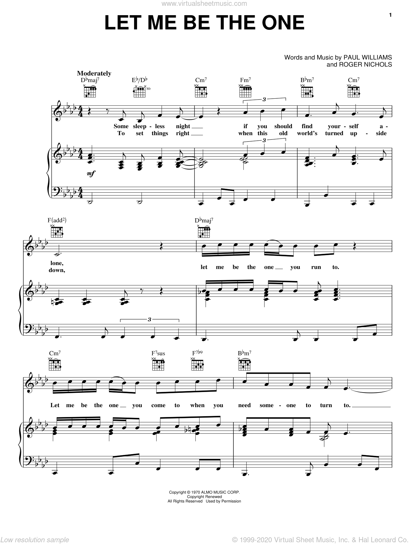 Let Me Be The One sheet music for voice, piano or guitar by Roger Nichols, Carpenters and Paul Williams. Score Image Preview.