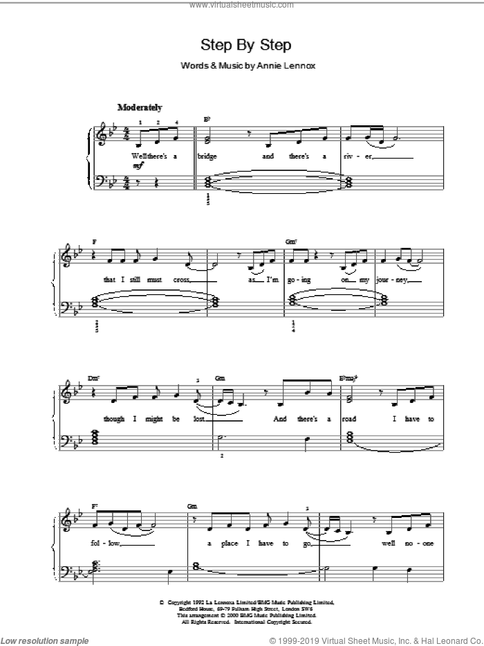 Step By Step sheet music for voice, piano or guitar by Whitney Houston. Score Image Preview.