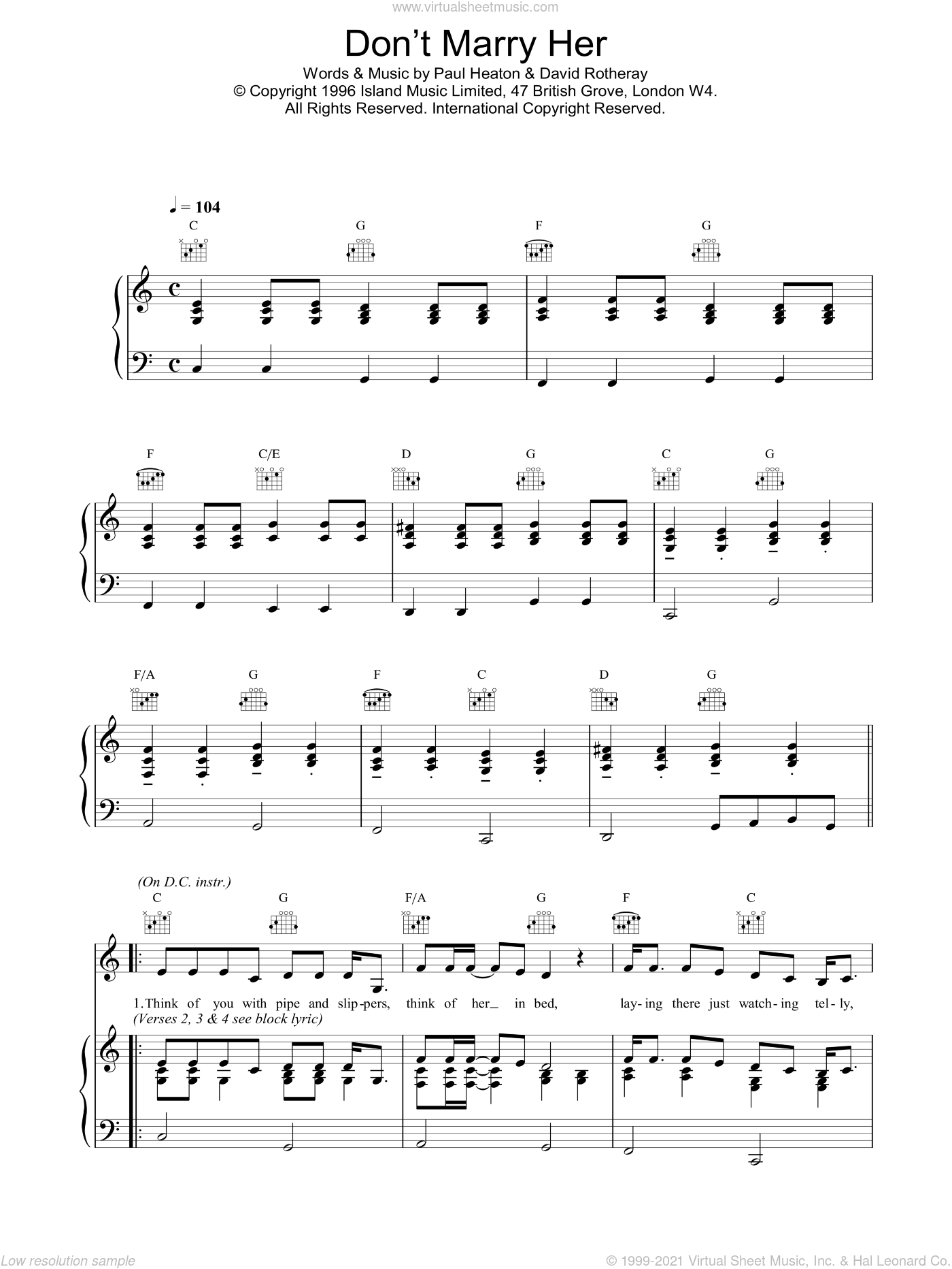 Don't Marry Her sheet music for voice, piano or guitar by The Beautiful South, intermediate skill level