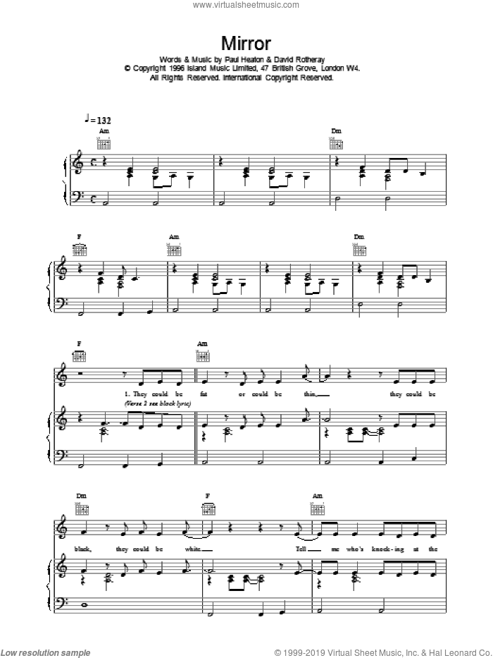 Mirror sheet music for voice, piano or guitar by The Beautiful South. Score Image Preview.
