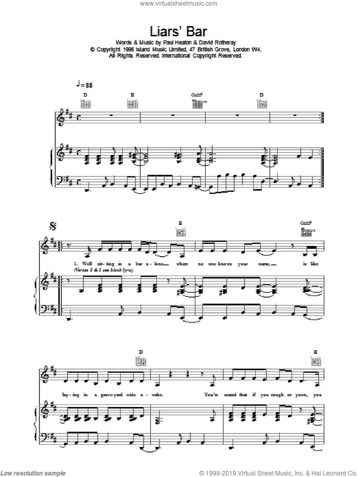 Liar's Bar sheet music for voice, piano or guitar by The Beautiful South. Score Image Preview.