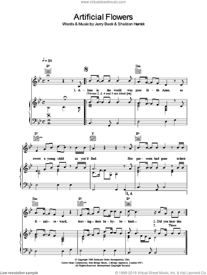 Artificial Flowers sheet music for voice, piano or guitar by The Beautiful South