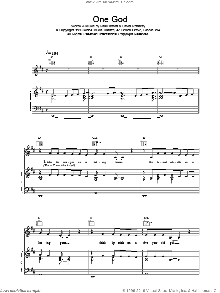 One God sheet music for voice, piano or guitar by The Beautiful South. Score Image Preview.