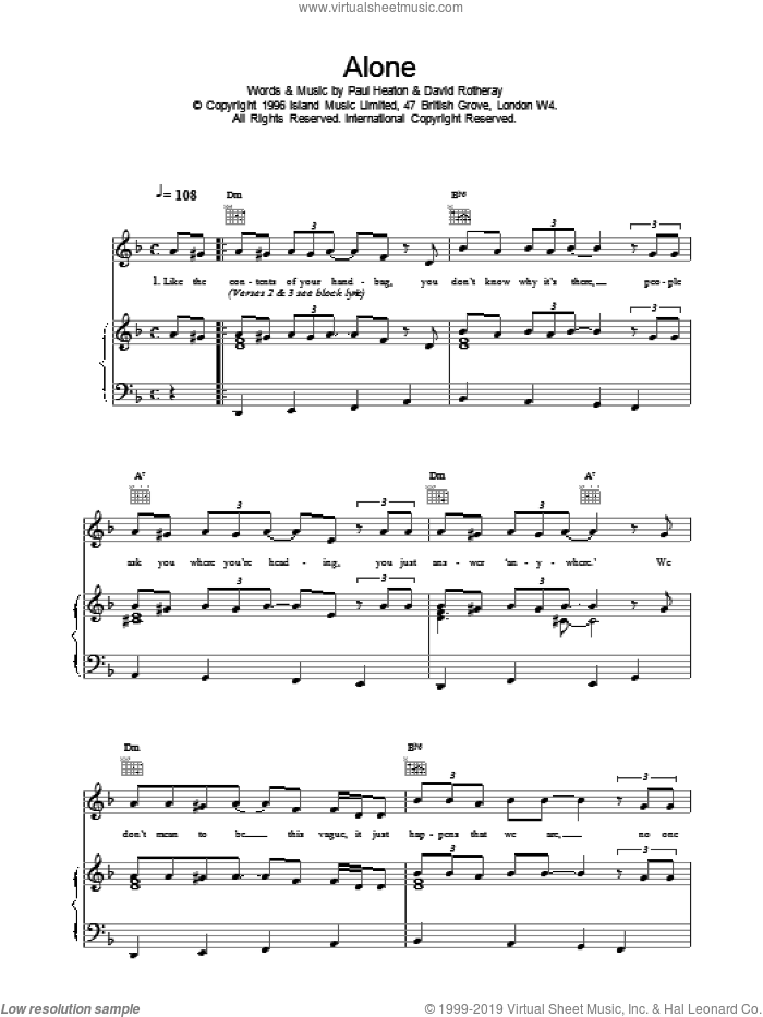 Alone sheet music for voice, piano or guitar by The Beautiful South. Score Image Preview.
