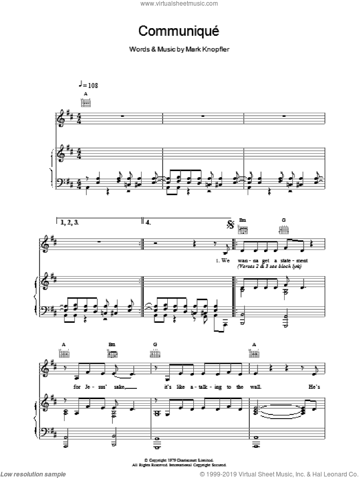 Communique sheet music for voice, piano or guitar by Dire Straits. Score Image Preview.