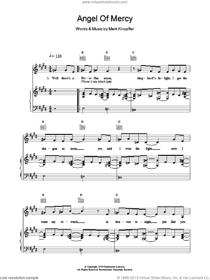 Angel Of Mercy sheet music for voice, piano or guitar by Dire Straits, intermediate skill level