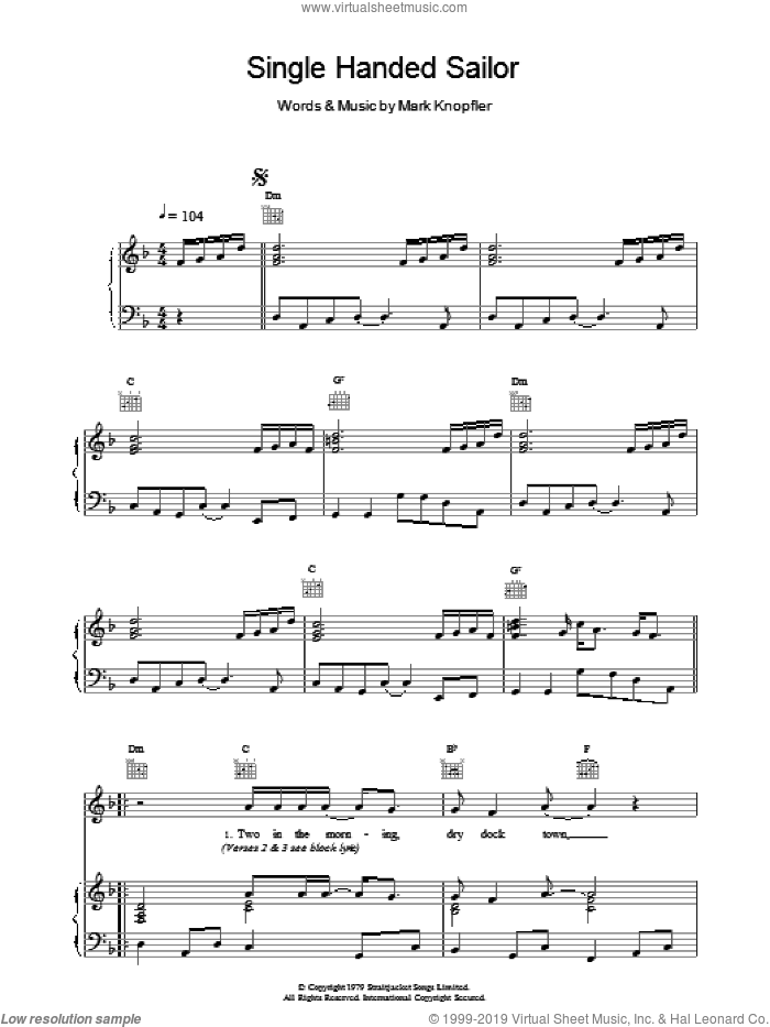 Single Handed Sailor sheet music for voice, piano or guitar by Dire Straits, intermediate skill level