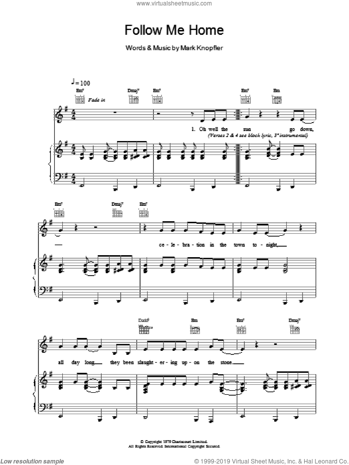 Follow Me Home sheet music for voice, piano or guitar by Dire Straits. Score Image Preview.