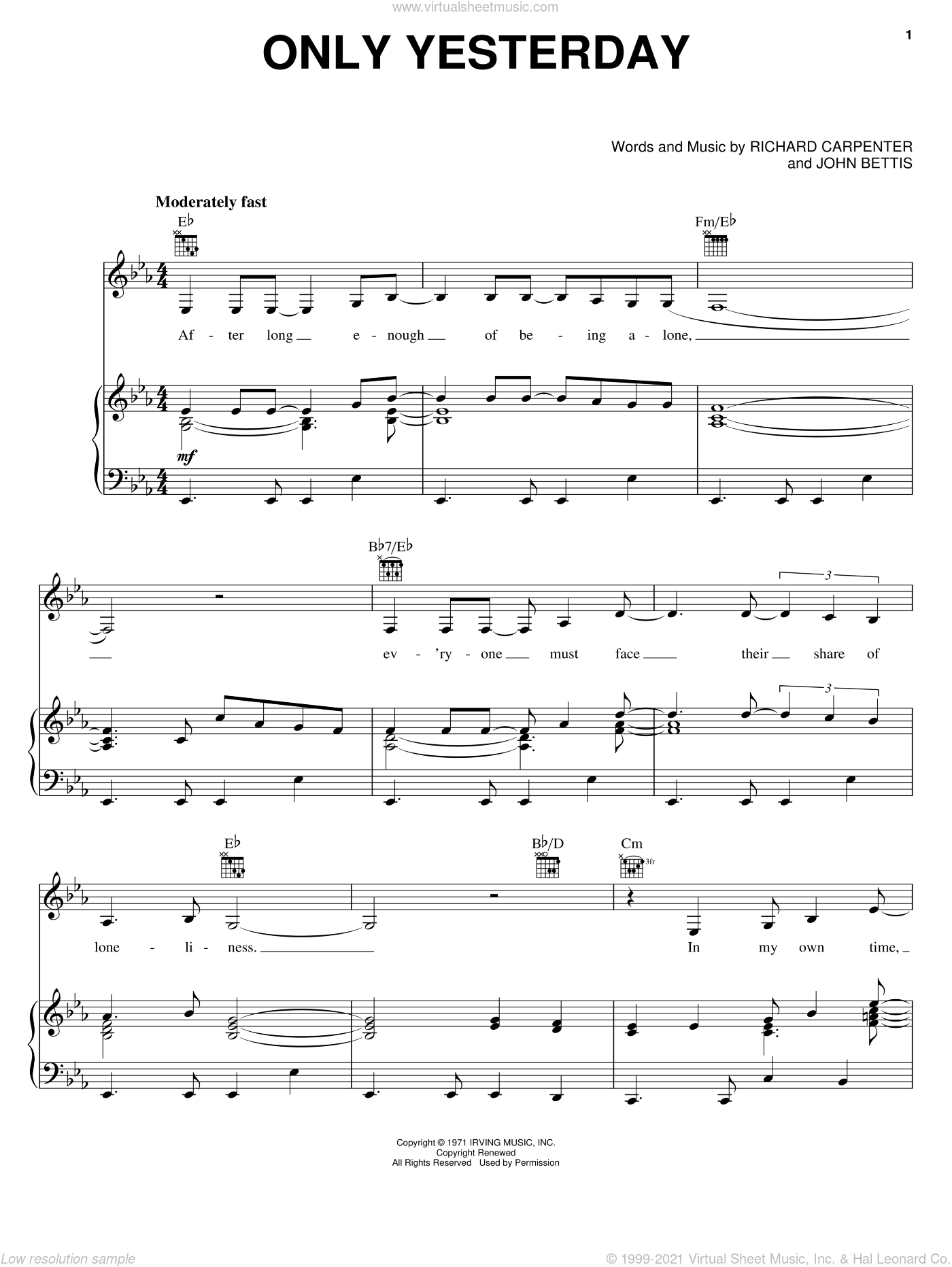 Only Yesterday sheet music for voice, piano or guitar by Carpenters, John Bettis and Richard Carpenter, intermediate skill level