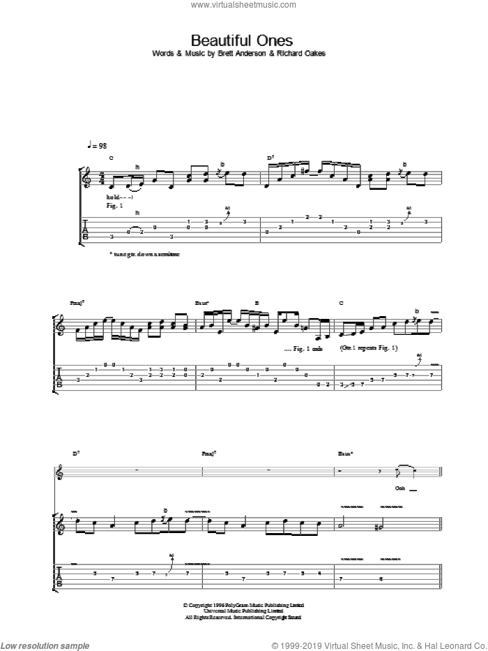 Beautiful Ones sheet music for guitar (tablature) by Suede