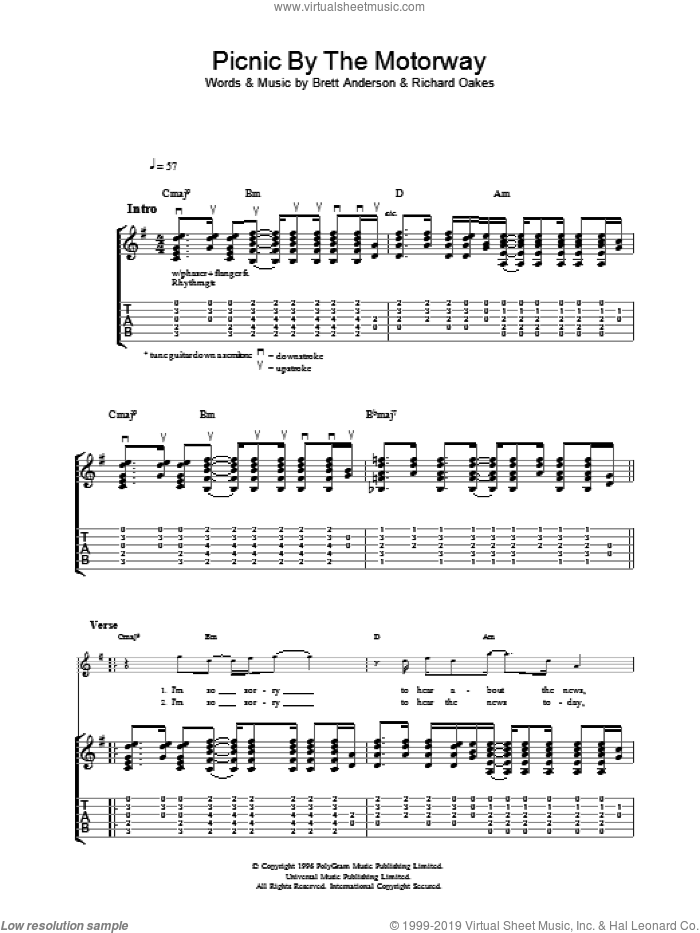 Picnic By The Motorway sheet music for guitar (tablature) by Suede. Score Image Preview.