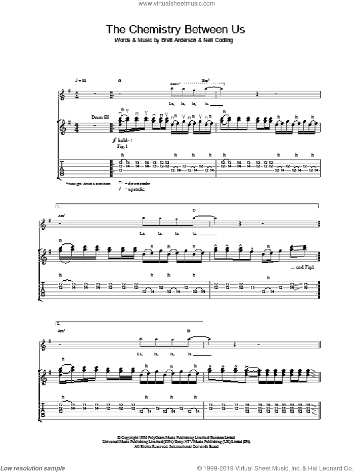 The Chemistry Between Us sheet music for guitar (tablature) by Suede, intermediate skill level