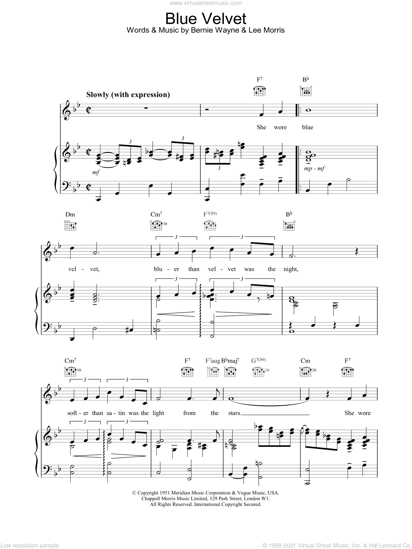 Blue Velvet sheet music for voice, piano or guitar by M People