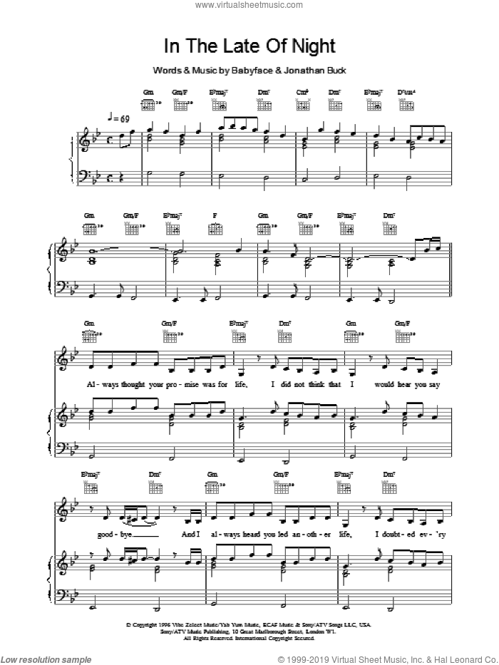 In The Late Of Night sheet music for voice, piano or guitar by Toni Braxton, Babyface and Jonathan Buck, intermediate skill level