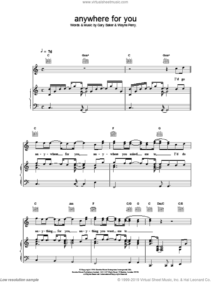 Anywhere For You sheet music for voice, piano or guitar by Backstreet Boys, intermediate. Score Image Preview.