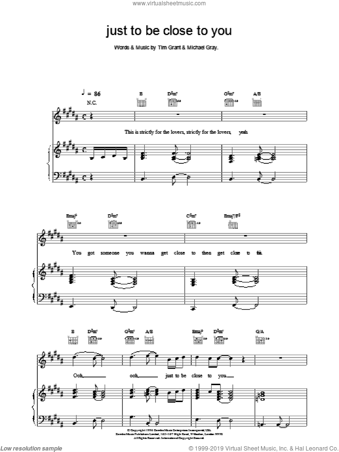 Just To Be Close To You sheet music for voice, piano or guitar by Backstreet Boys, intermediate