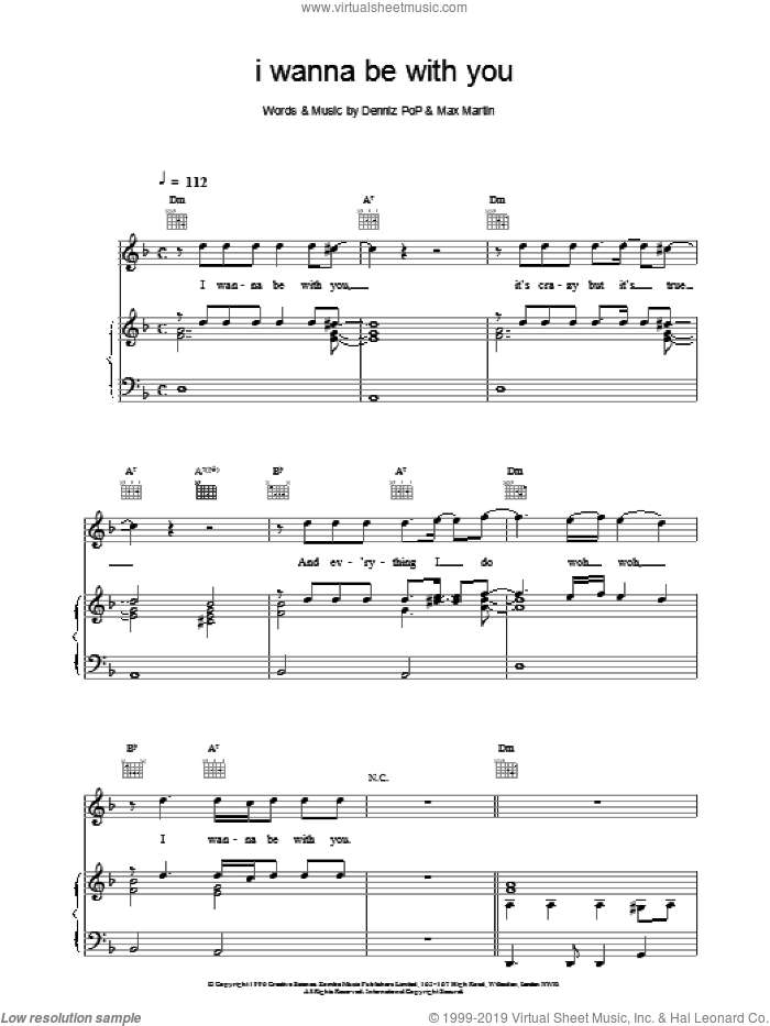 I Wanna Be With You sheet music for voice, piano or guitar by Backstreet Boys, intermediate skill level
