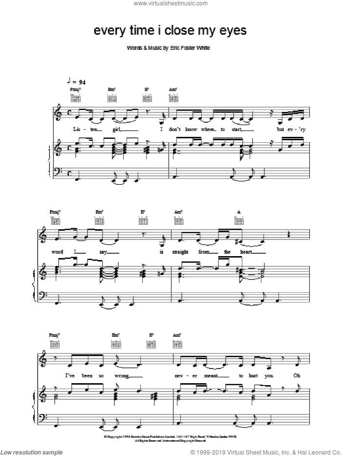 Every Time I Close My Eyes sheet music for voice, piano or guitar by Backstreet Boys. Score Image Preview.