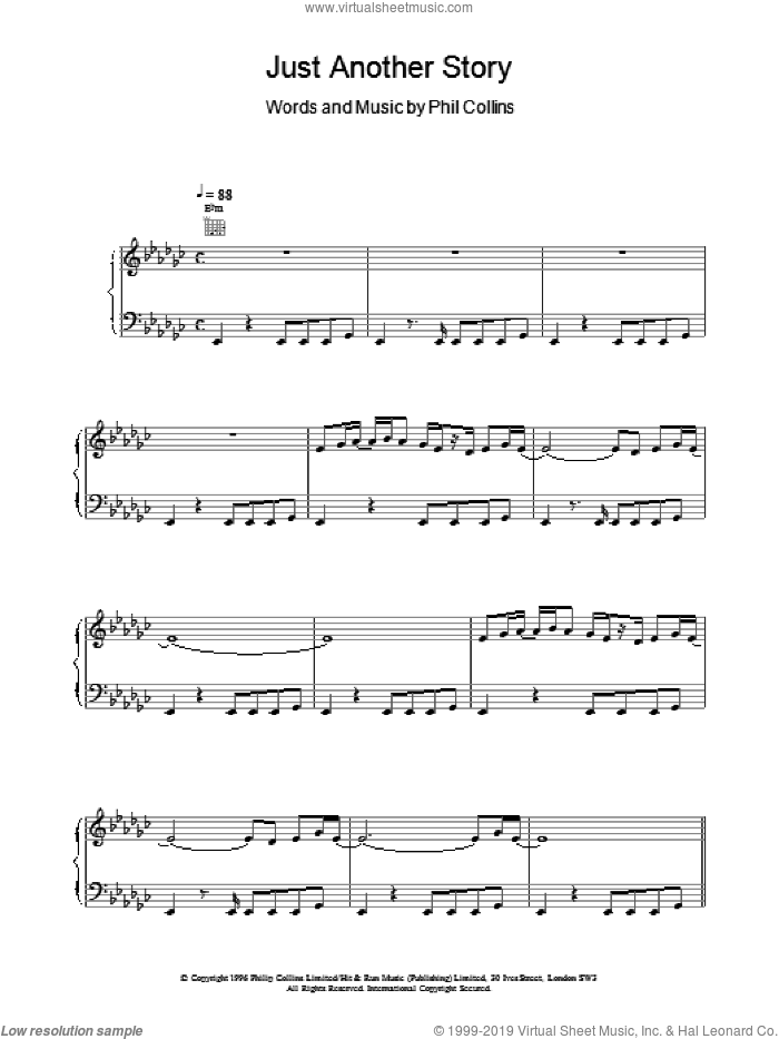 Just Another Story sheet music for voice, piano or guitar by Phil Collins, intermediate. Score Image Preview.