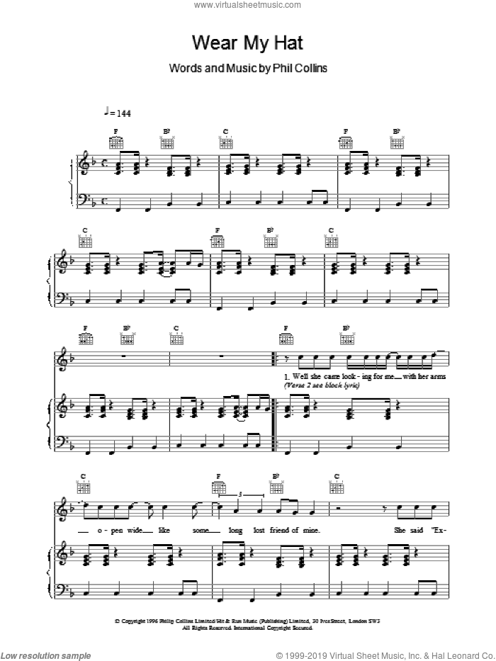 Wear My Hat sheet music for voice, piano or guitar by Phil Collins. Score Image Preview.