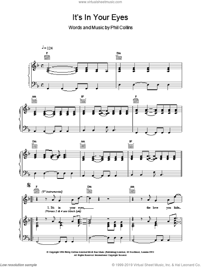 Its In Your Eyes sheet music for voice, piano or guitar by Phil Collins. Score Image Preview.