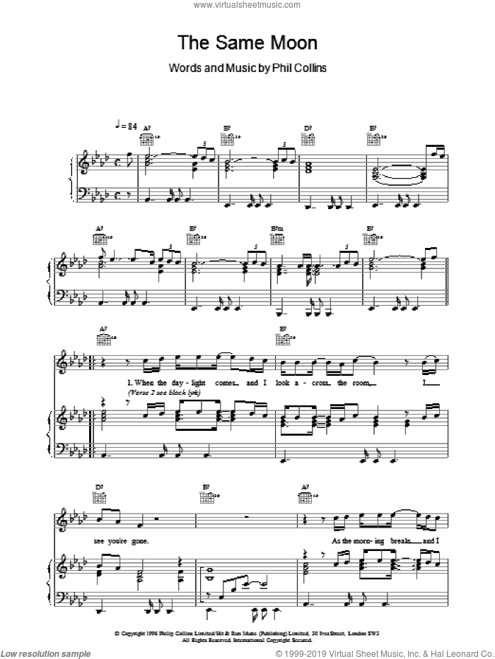 The Same Moon sheet music for voice, piano or guitar by Phil Collins, intermediate. Score Image Preview.