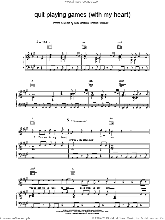 Quit Playing Games (With My Heart) sheet music for voice, piano or guitar by Backstreet Boys. Score Image Preview.