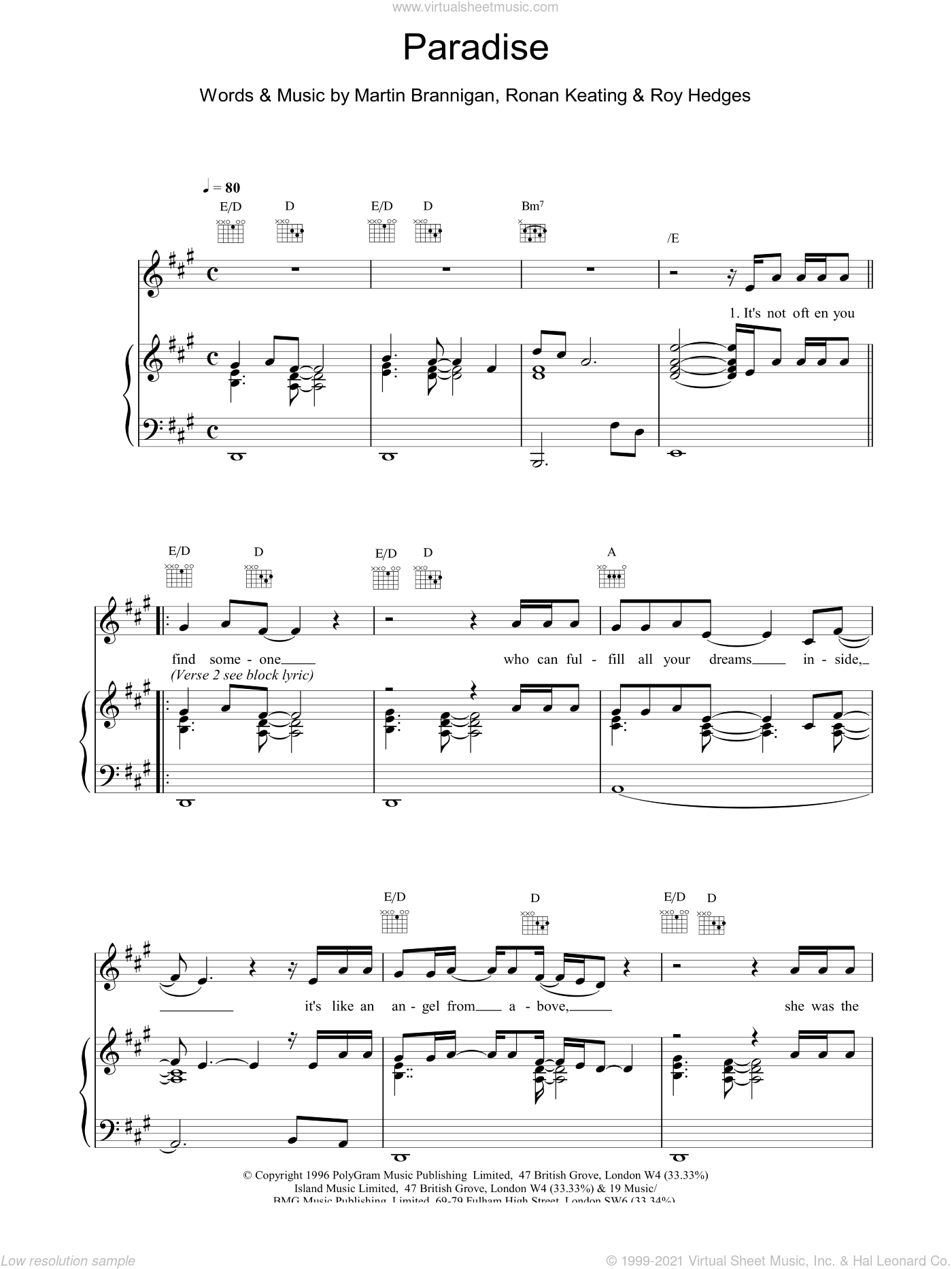 Paradise sheet music for voice, piano or guitar by Boyzone
